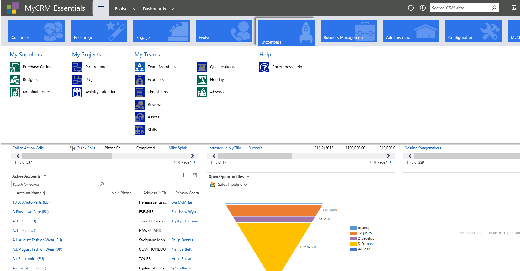 Image of CRM screenshot showing Encompass